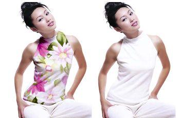 PhotoShop给美女衣服添加花纹教程 三联